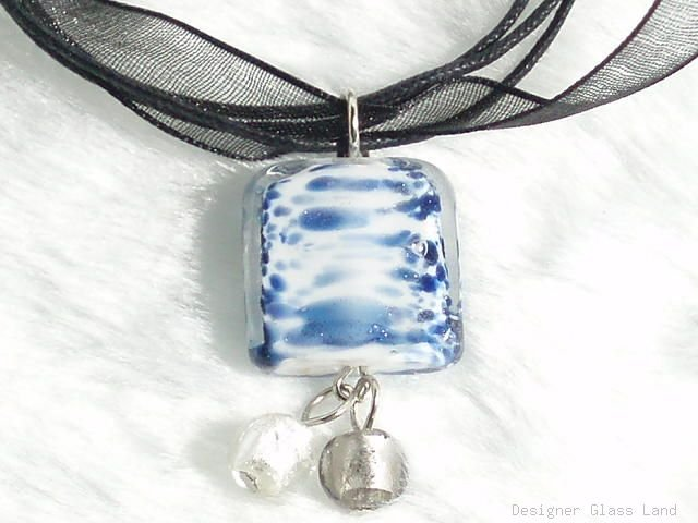 P315 MURANO GLASS DESIGNER PENDANT NECKLACE
