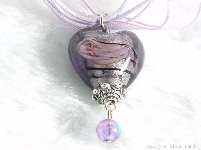 P332 MURANO GLASS SMOKY HEART PENDANT NECKLACE