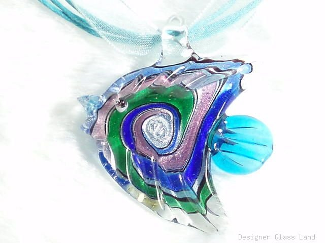 P340 MURANO LAMPWORK GLASS FAIRY FISH PENDANT NECKLACE