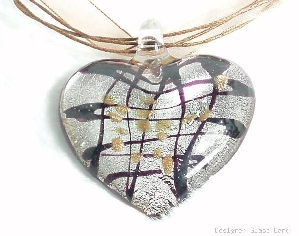 P361B HUGE MURANO LAMPWORK GLASS HEART PENDANT NECKLACE