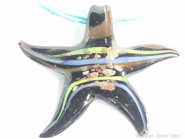 P368 MURANO GLASS BLACK STAR PENDANT NECKLACE