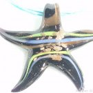 P368 MURANO GLASS BLACK STAR PENDANT NECKLACE