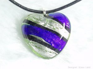 P391 MURANO LAMPWORK GLASS STRIP HEART PENDANT NECKLACE