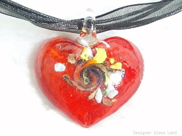 P392 MURANO DICHROIC FIRE HEART PENDANT NECKLACE