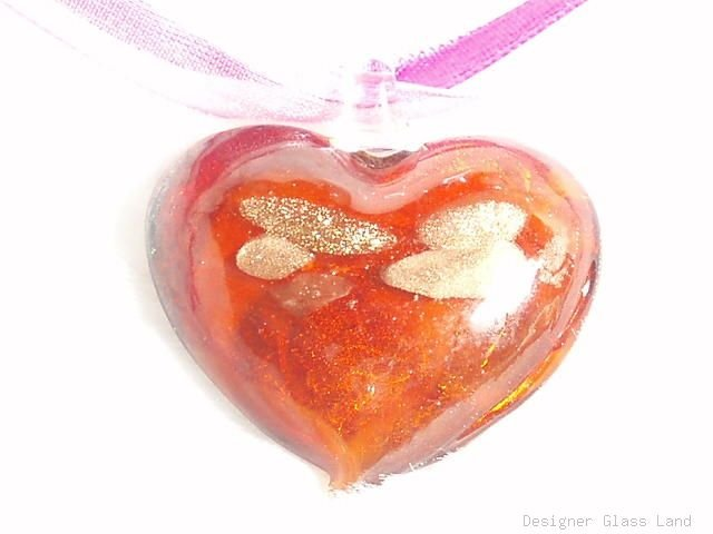 P395 MURANO LAMPWORK GLASS RED HEART PENDANT NECKLACE