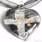 P442 MURANO LAMPWORK GLASS CROSS HEART PENDANT NECKLACE, FREE SHIPPING!!!