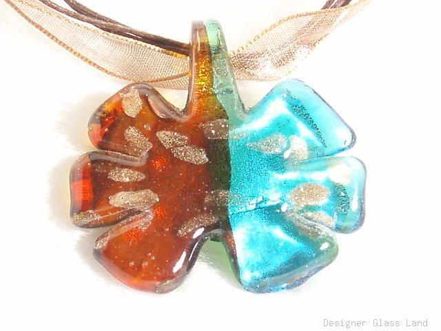 P443 MURANO LAMPWORK GLASS FLOWER PENDANT NECKLACE, FREE SHIPPING!!!