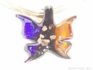 P448 MURANO LAMPWORK GLASS BUTTERFLY PENDANT NECKLACE, FREE SHIPPING!!!