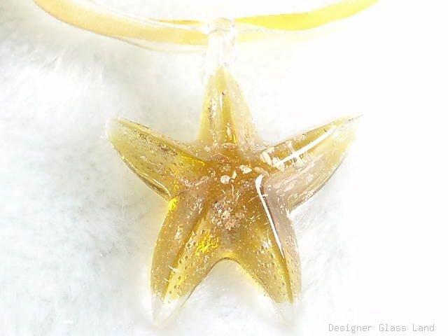 P456 MURANO LAMPWORK GLASS TOPAZ STAR PENDANT NECKLACE, FREE SHIPPING!!!