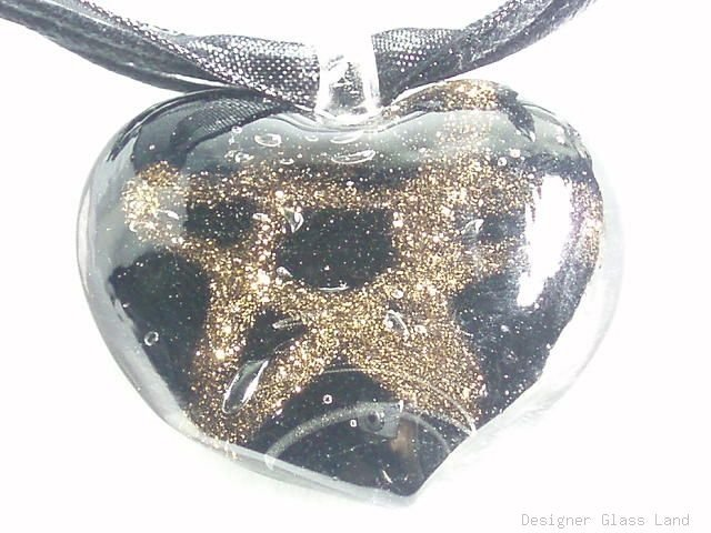 P465 MURANO GLASS BLACK HEART W/STAR PENDANT NECKLACE, FREE SHIPPING!!!