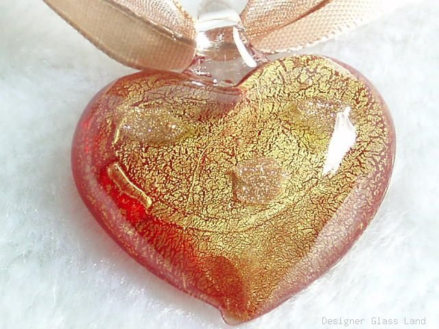 P467 MURANO GLASS GOLDEN RED HEART PENDANT NECKLACE, FREE SHIPPING!!!