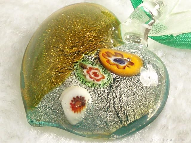 P470 MURANO GLASS MILLEFIORI HEART PENDANT NECKLACE, FREE SHIPPING!!!