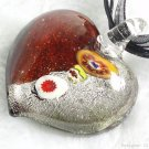 P471 MURANO GLASS MILLEFIORI HEART PENDANT NECKLACE, FREE SHIPPING!!!