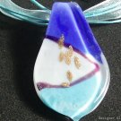 P472 MURANO LAMPWORK GLASS BLUE LEAF PENDANT NECKLACE, FREE SHIPPING!!!