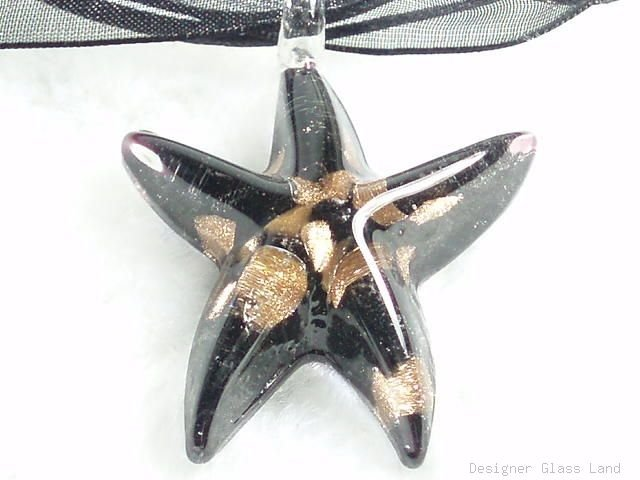 P473 MURANO GLASS CUTIE BLACK STAR PENDANT NECKLACE, FREE SHIPPING!!!