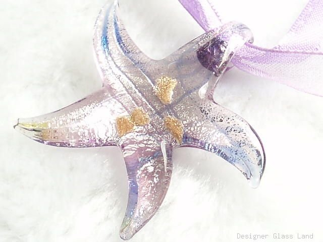 P474 MURANO LAMPWORK GLASS LILAC STAR PENDANT NECKLACE, FREE SHIPPING!!!
