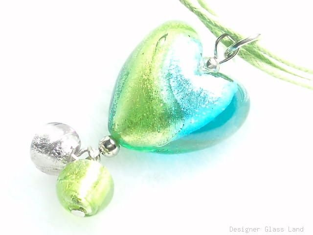 P476 MURANO LAMPWORK BI COLORS HEART PENDANT NECKLACE, FREE SHIPPING!!!