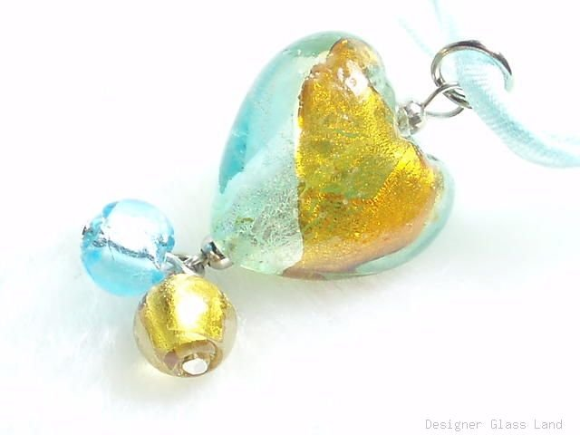 P477 MURANO LAMPWORK BI COLORS HEART PENDANT NECKLACE, FREE SHIPPING!!!