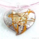 P504 MURANO LAMPWORK GLASS HEART PENDANT NECKLACE, FREE SHIPPING!!!