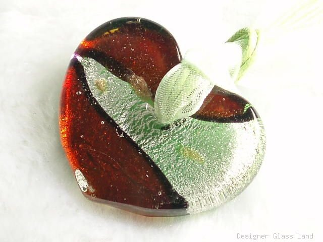 P512 MURANO LAMPWORK GLASS HEART PENDANT NECKLACE, FREE SHIPPING!!!