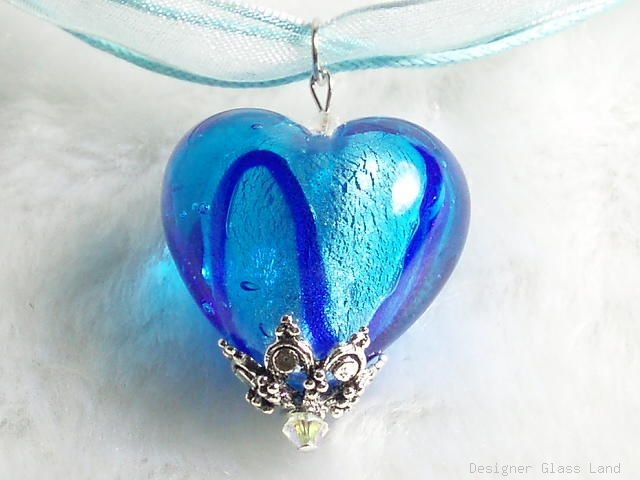 P513 MURANO GLASS BLUE STRIP HEART PENDANT NECKLACE, FREE SHIPPING!!!