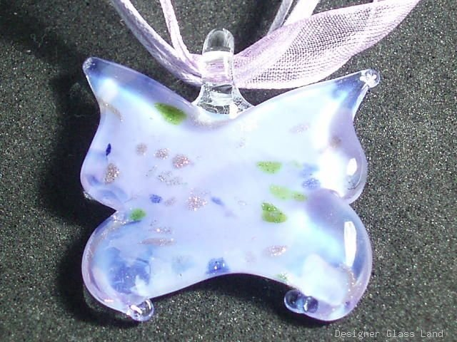P520 MURANO LAMPWORK GLASS BUTTERFLY PENDANT NECKLACE, FREE SHIPPING!!!