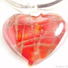 P526 MURANO LAMPWORK GLASS RED HEART PENDANT NECKLACE, FREE SHIPPING!!!