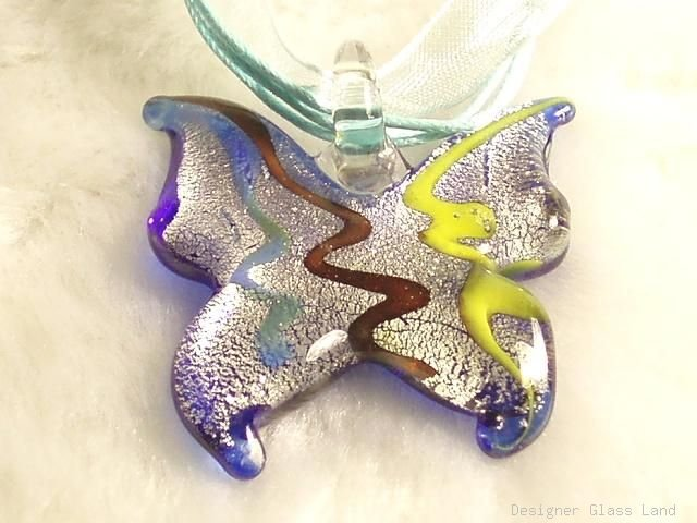 P528 MURANO LAMPWORK GLASS BUTTERFLY PENDANT NECKLACE, FREE SHIPPING!!!