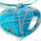 P537 MURANO LAMPWORK GLASS BLUE HEART PENDANT NECKLACE, FREE SHIPPING!!!