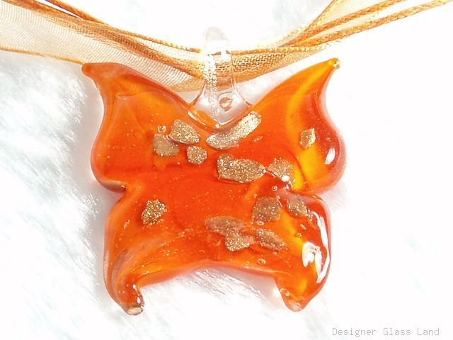 P539 MURANO GLASS ORANGE BUTTERFLY PENDANT NECKLACE, FREE SHIPPING!!!