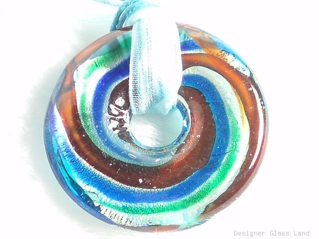 P543 MURANO LAMPWORK GLASS ROUND PENDANT NECKLACE, FREE SHIPPING!!!