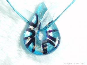 P544 MURANO LAMPWORK GLASS BLUE DROP PENDANT NECKLACE, FREE SHIPPING!!!