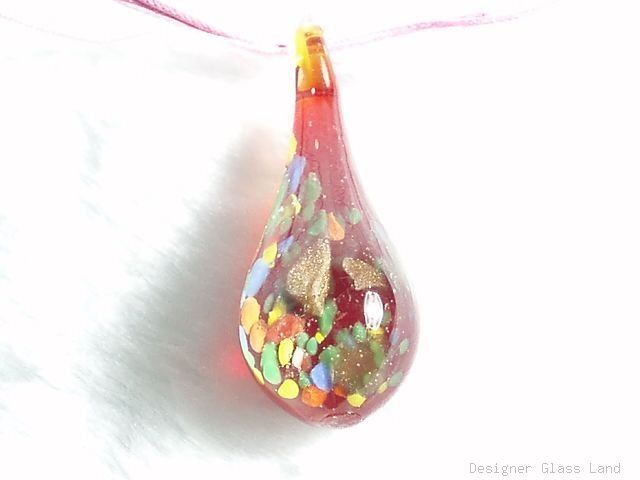 P553 MURANO LAMPWORK GLASS RED DROP PENDANT NECKLACE, FREE SHIPPING!!!