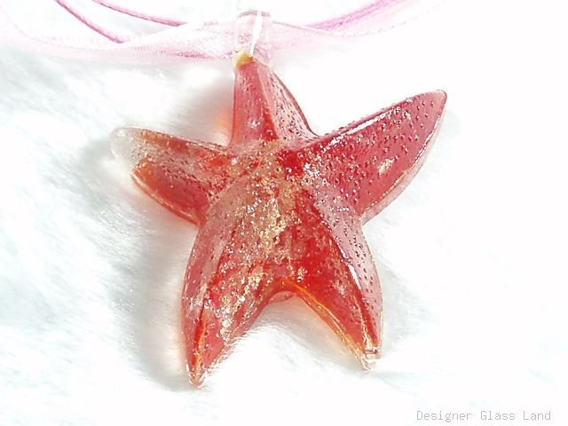 P557 MURANO GLASS RED STARFISH PENDANT NECKLACE, FREE SHIPPING!!!