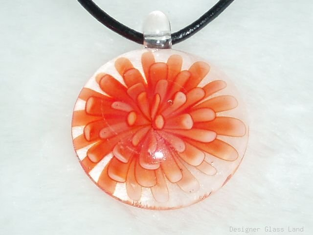 P566 MURANO GLASS ORANGE FLOWER ROUND PENDANT NECKLACE, FREE SHIPPING!!!