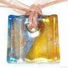 P570 MURANO GLASS GOLDEN NAVY GRID PENDANT NECKLACE, FREE SHIPPING!!!