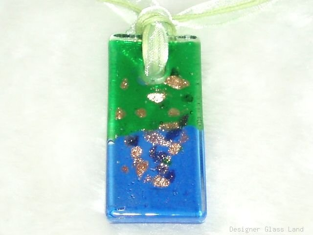 P572 MURANO GLASS GREEN BLUE PENDANT NECKLACE, FREE SHIPPING!!!