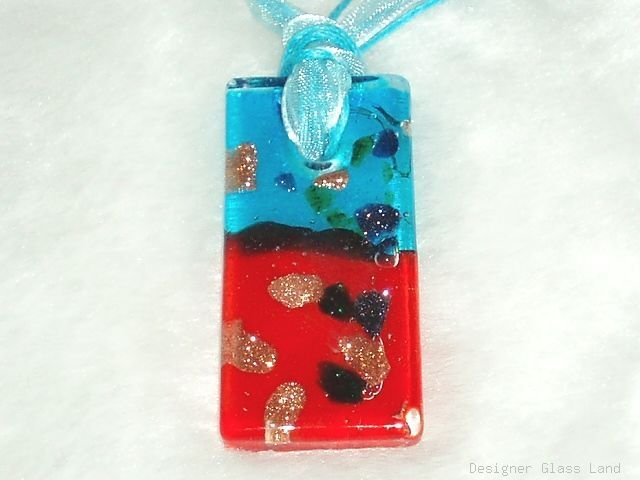 P573 MURANO GLASS BLUE RED PENDANT NECKLACE, FREE SHIPPING!!!