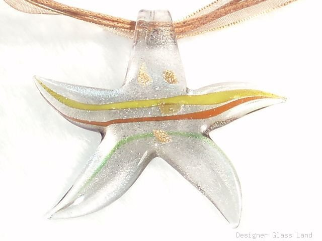 P595 MURANO GLASS PENDANT GREY STAR NECKLACE, FREE SHIPPING!!!