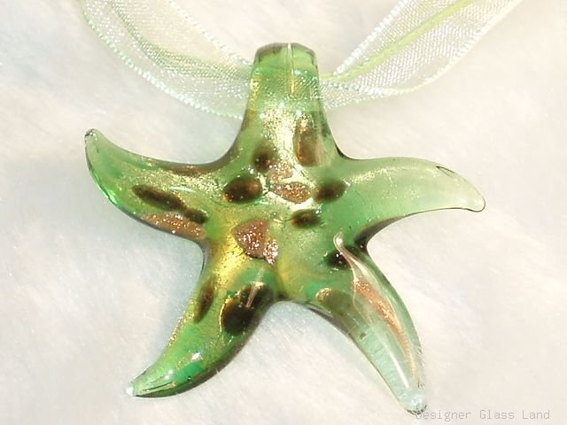 P597 MURANO GLASS PENDANT GOLDEN GREEN STAR NECKLACE, FREE SHIPPING!!!