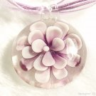 P603 MURANO GLASS PURPLE FLOWER ROUND PENDANT NECKLACE, FREE SHIPPING!!!