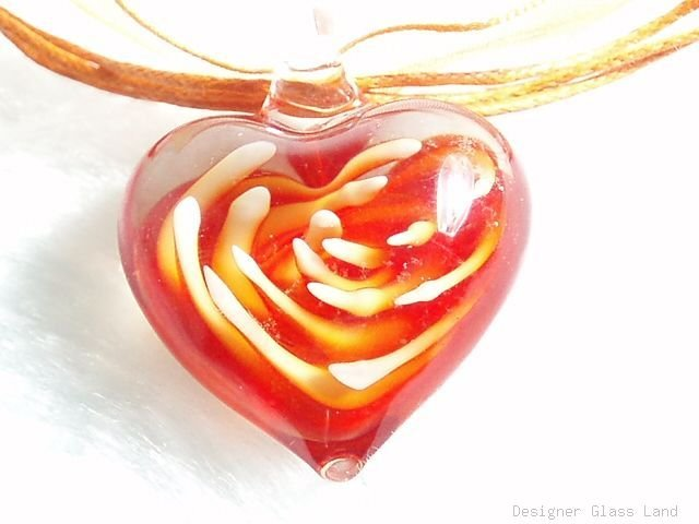 P607 MURANO GLASS ORANGE FLOWER HEART PENDANT NECKLACE, FREE SHIPPING!!!