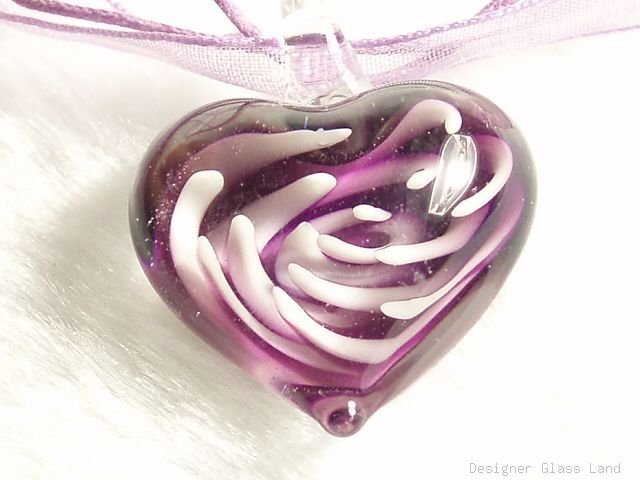 P611 MURANO GLASS LAVENDER HEART PENDANT NECKLACE, FREE SHIPPING!!!