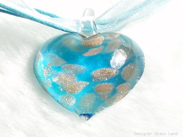 P623 MURANO GLASS BLUE HEART PENDANT NECKLACE, FREE SHIPPING!!!