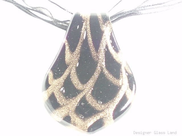 P630 MURANO GLASS PENDANT NECKLACE GOLDEN BLACK DROP, FREE SHIPPING!!!