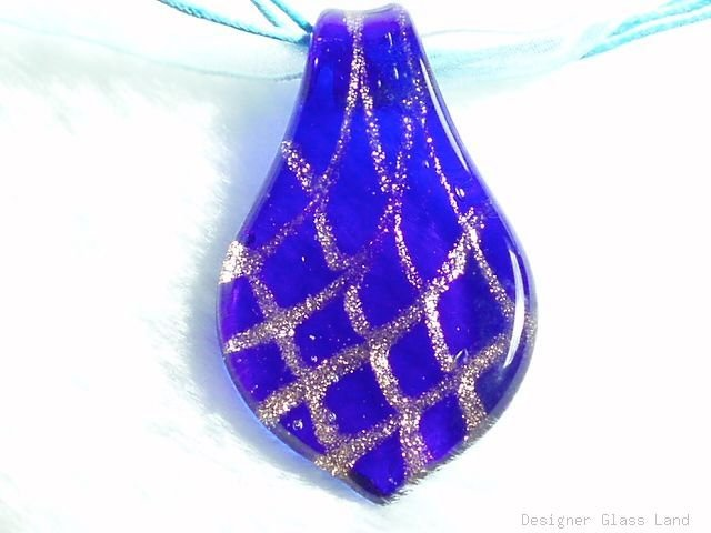 P634 MURANO GLASS GOLDEN NAVY LEAF PENDANT NECKLACE, FREE SHIPPING!!!