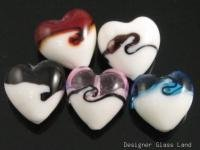 GQ002 LOT 10PCS*20MM LAMPWORK GLASS HEART BEADS DIY