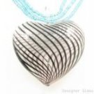 P963 HUGE BLOWN GLASS HEART PENDANT BEADS NECKLACE