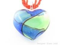 P969 HUGE BLOWN MURANO GLASS HEART PENDANT BEADS NECKLACE  **FREE SHIPPING**
