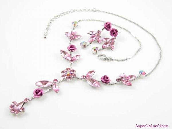SS004 Elegant Pink Crystal AB crystal Flower Silver Tone Necklace Earrings Set Best for Gift